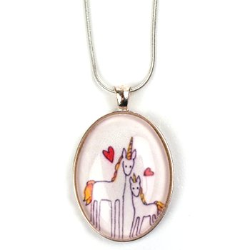 Mother & Baby Unicorn Art Pendant Necklace £16.50